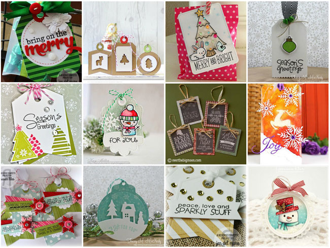 Collage of handmade holiday gift tags