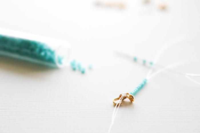 Beaded Seed Bead Bracelet - Apply seed beads