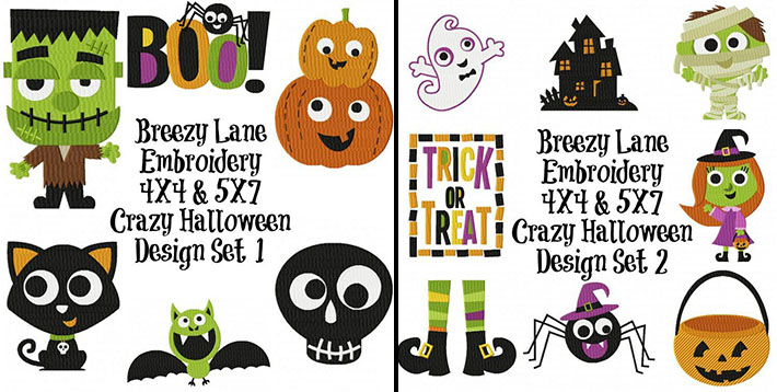 Crazy Halloween 1 Embroidery Design Set