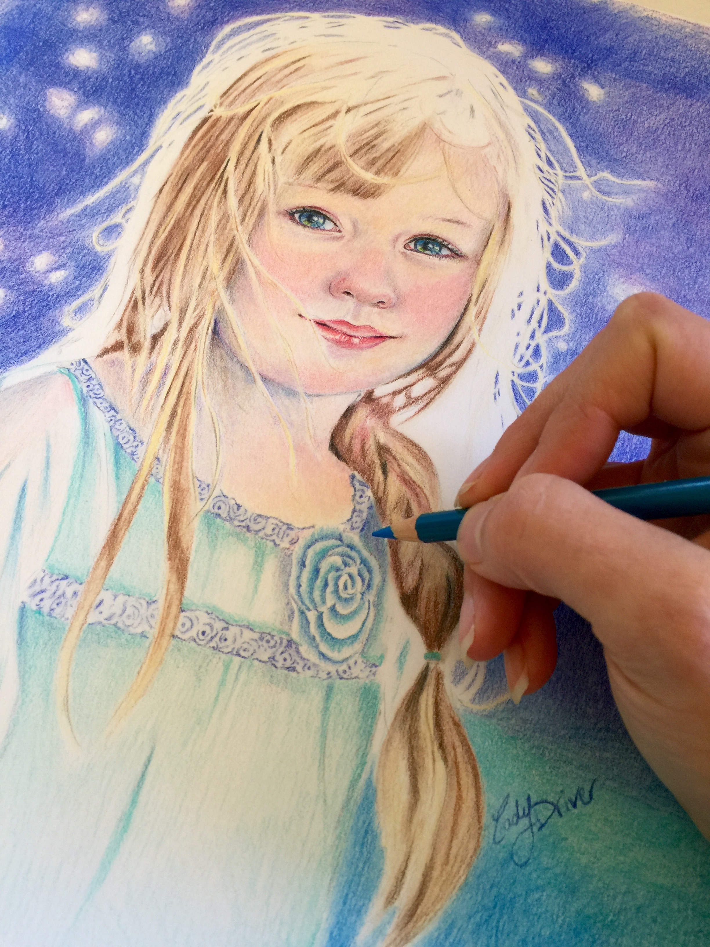 Drawing Clothing on a Portrait in Colored Pencil