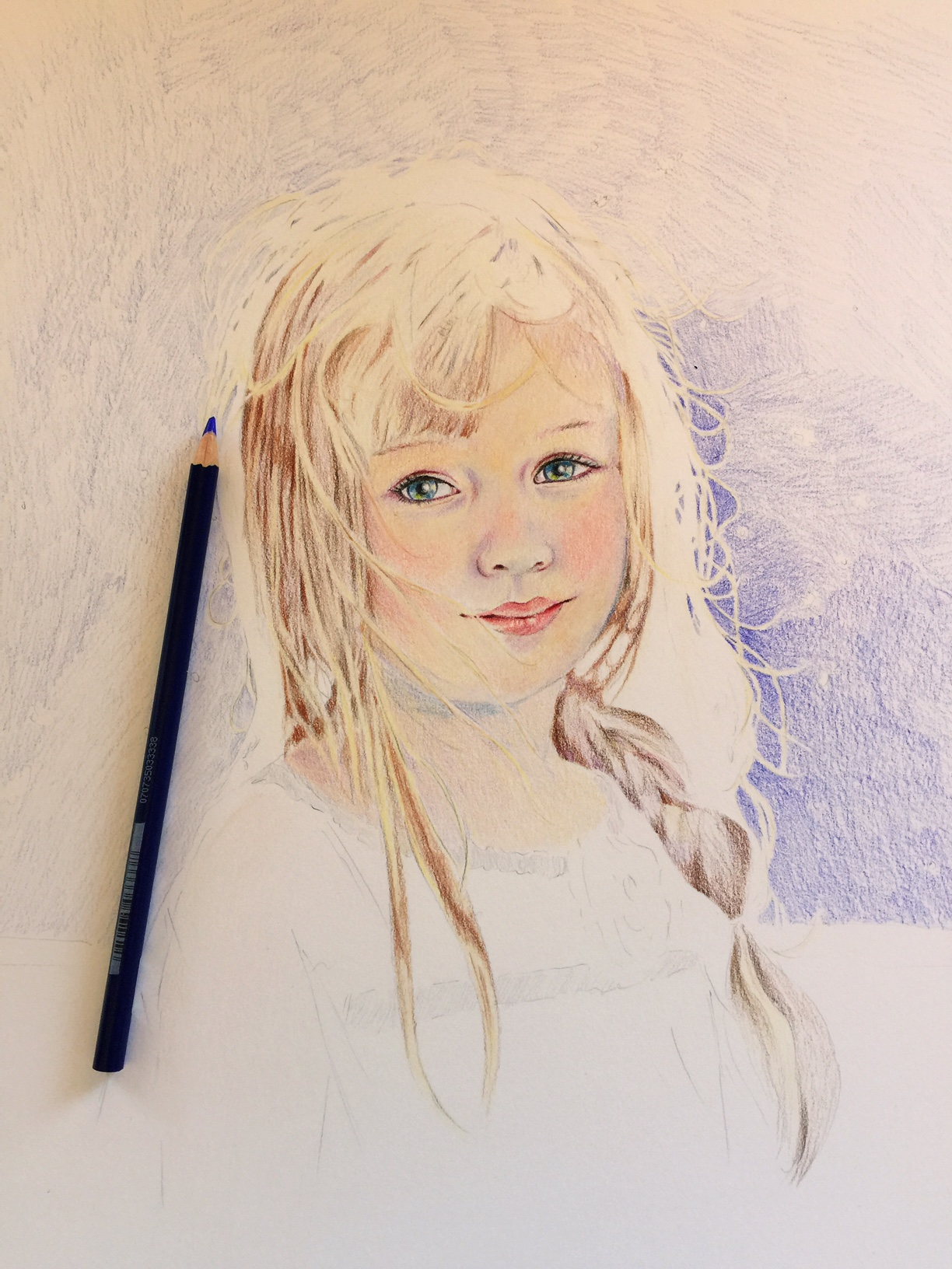 Adding the background to a colored pencil portrait