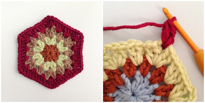 Join as you go crochet hexagon central motif