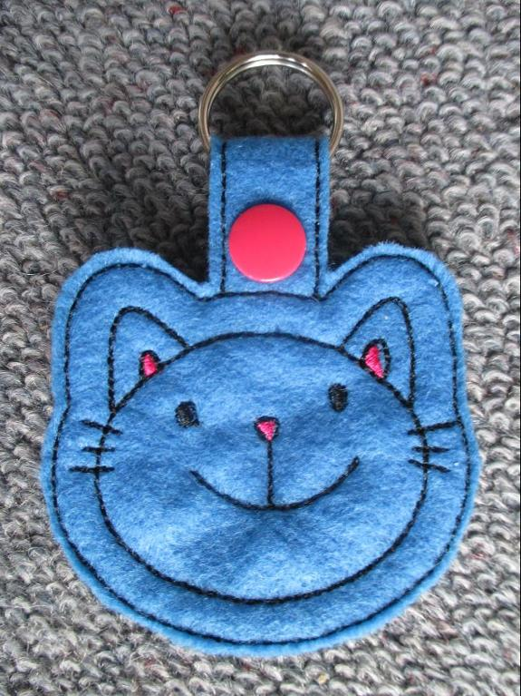 Kitty Keyring Machine Embroidery