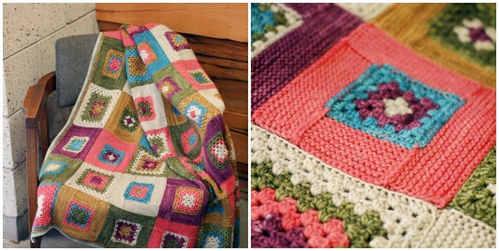 Patchwork crochet Granny log cabin blanket