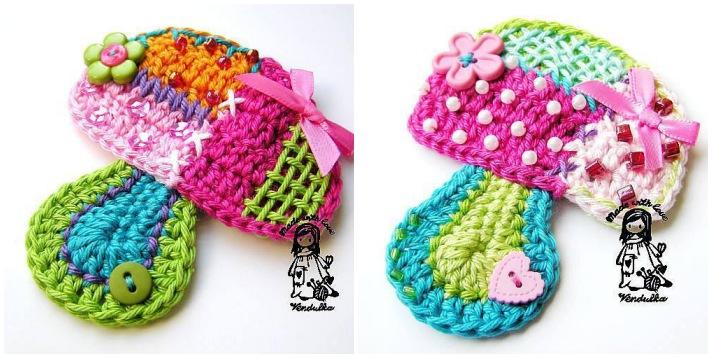 Patchwork crochet Patchwork mushroom applique