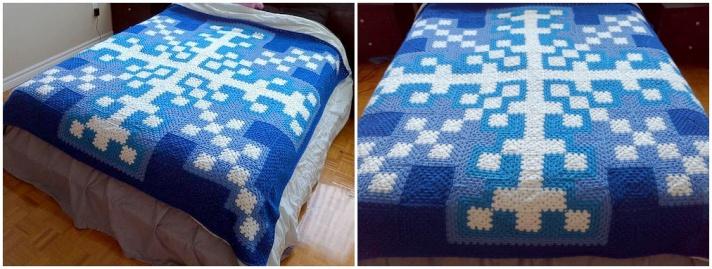 Patchwork crochet Snowflake blanket
