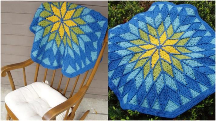 Patchwork crochet circular throw