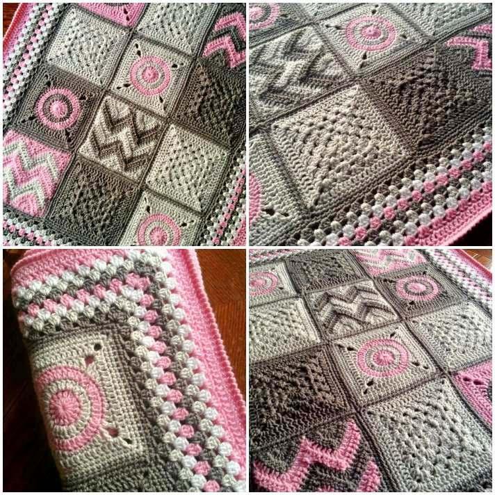 Patchwork crochet sampler patchwork blanket