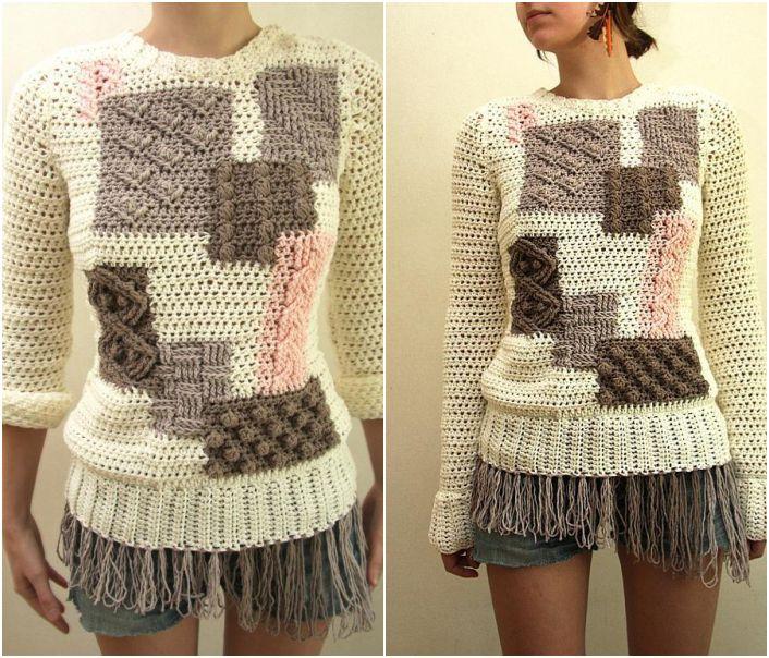 Patchwork crochet sweater