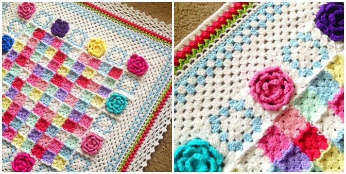 Patchwork crochet the Rosa Fresca Blanket