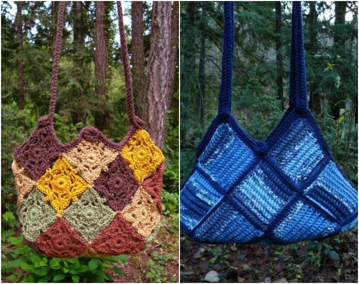 Patchwork crochet two patchwork bags