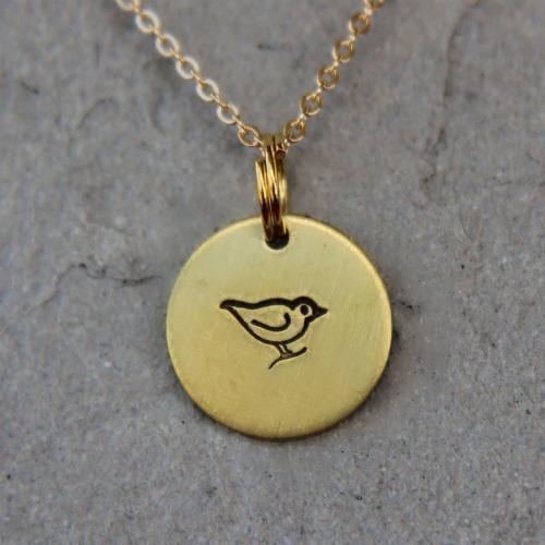 Stamped Bird Necklace