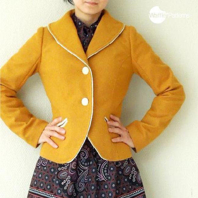 Waffle retro style blazer jacket pattern