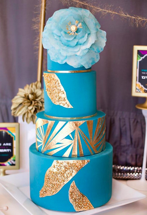 blue tiered cake