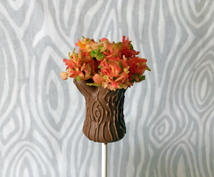 cake pop trees with multi fall-colored leaves