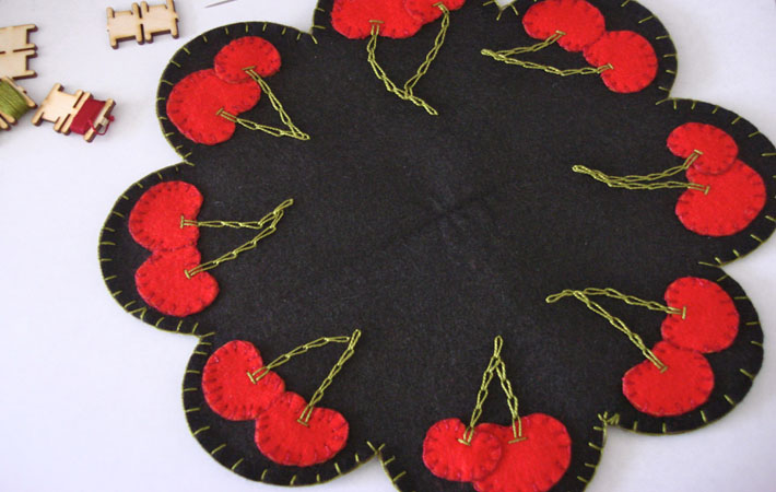 Embroidered cherries