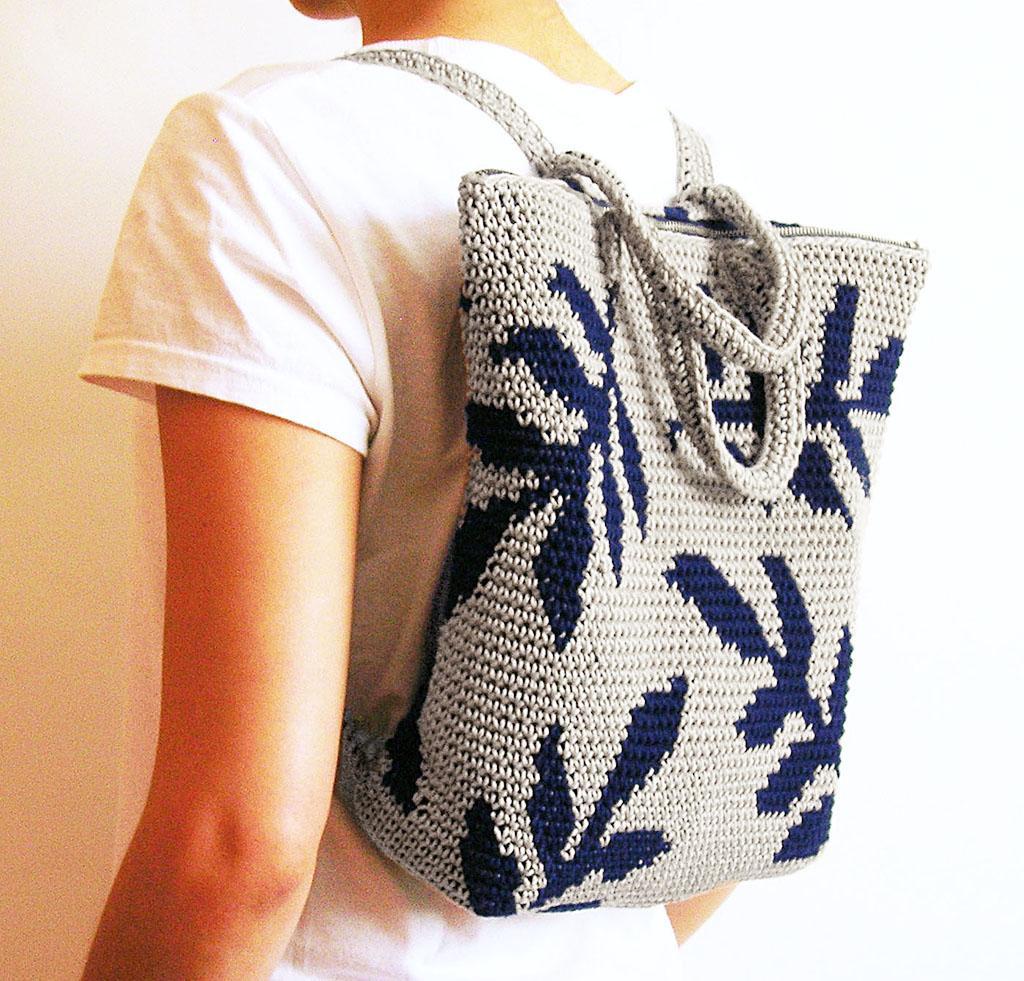 crochet leaves backpack kit
