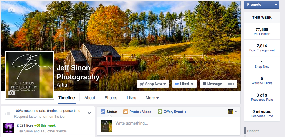 screenshot image of the Jeff Sinon Photography fan page cover image.