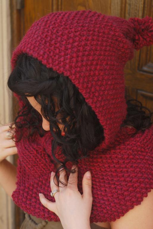 Reversible Cabled Hooded Scarf FREE Knitting Pattern