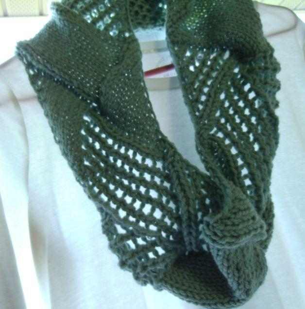 Chunky Entrelac With Lace Scarf