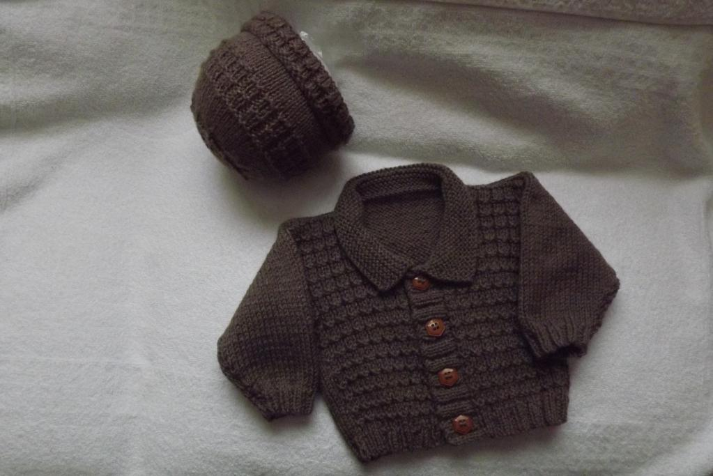 Baby Waffle Stitch Cardigan and Beanie Hat Knitting Pattern