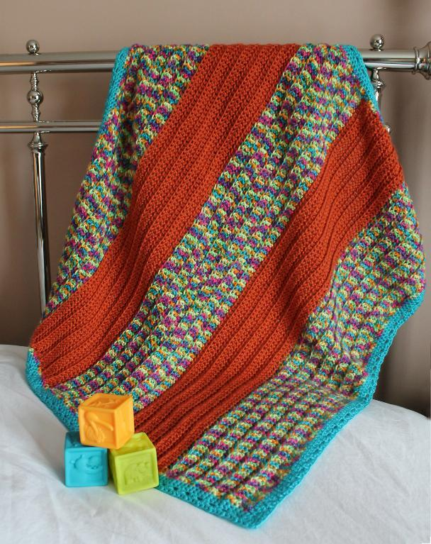 Broad Stripe Baby Blanket FREE Crochet Pattern