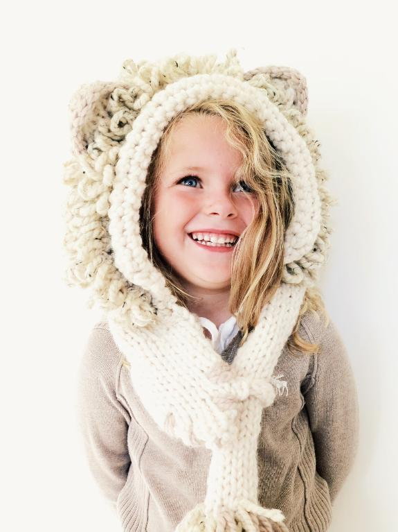 Leroy the Lion Hooded Scarf Knitting Pattern