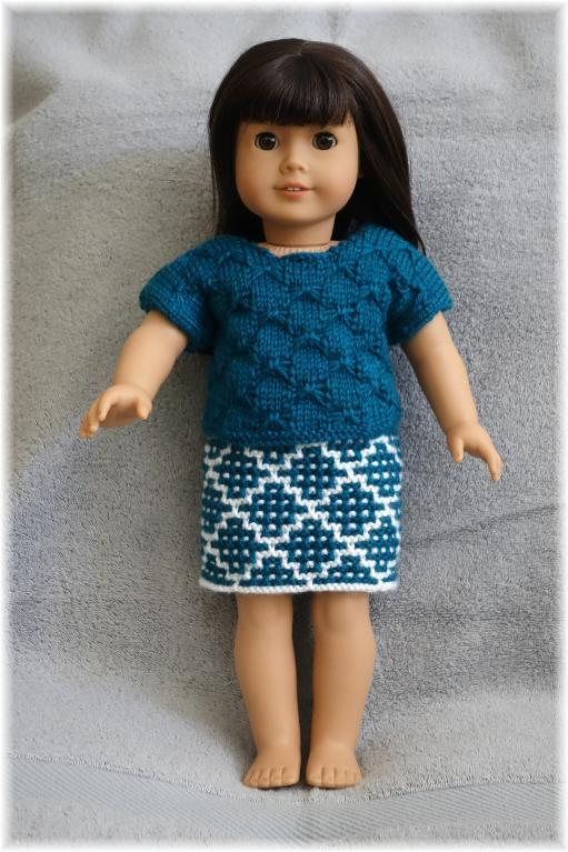 American Girl Bowknot Top + Skirt Knitting Pattern