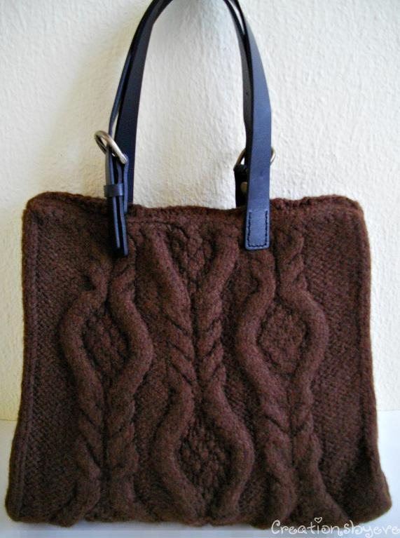 Brown Cabled Felted Bag Knitting Pattern