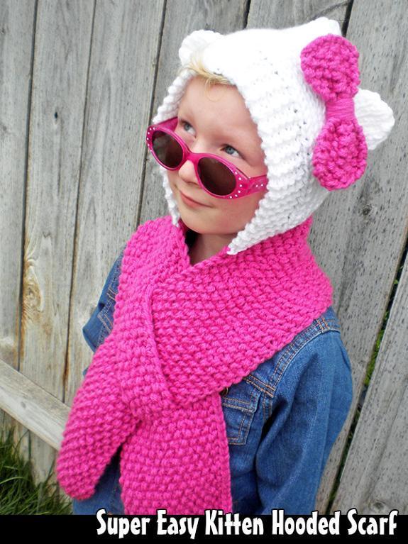 Super Easy Kitten Hooded Scarf Knitting Pattern
