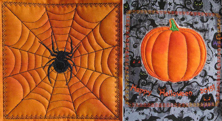 in the hoop quilted halloween blocks