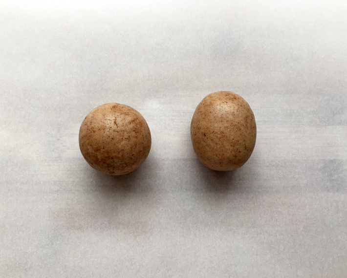 Two balls of shaped cake pop dough