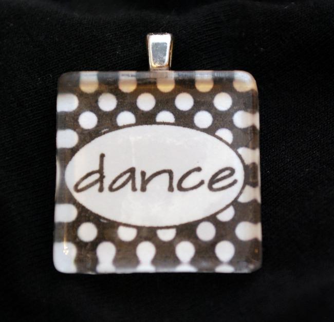 """Dance"" glass tile pendant"