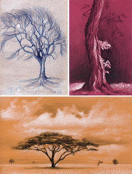 colored pencil drawing of trees