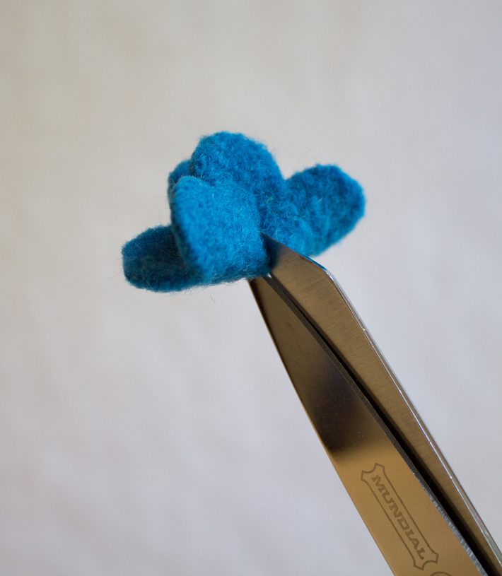 trim the felt flower