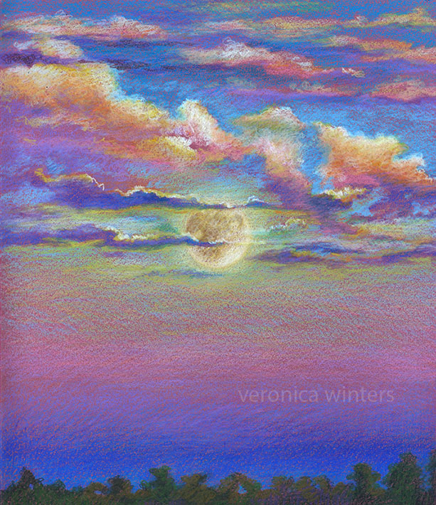 colored pencil drawing of clouds and moon