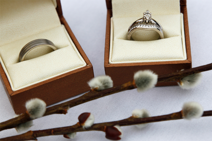Still life shot of wedding rings before the ceremony