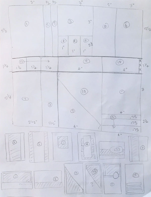 Preliminary hand drawn sketch of One Sheet Wonder layout