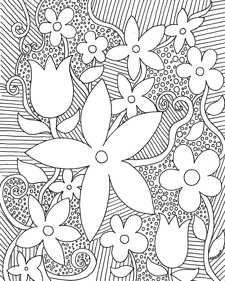 Coloring book page: flowers