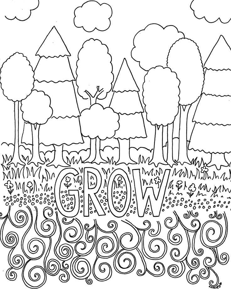 Coloring book page: grow