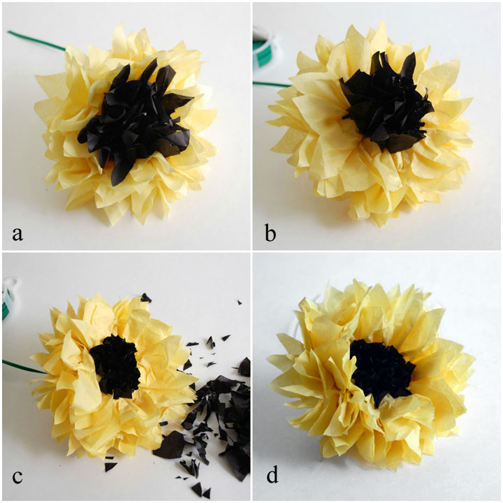 Separate layers, trim black and reshape flower
