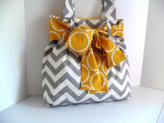 Chevron Diaper Bag with Bow