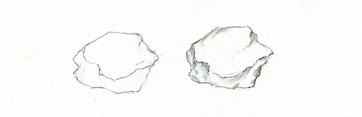 drawing rocks that are large and misshapen