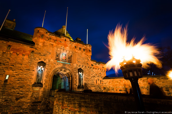 Fire photography tips - Edinburgh Castle by torchlight