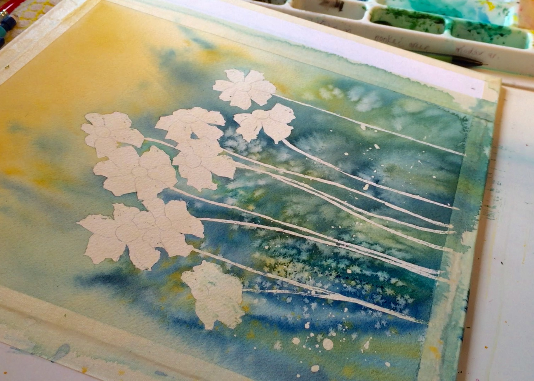 Watercolor Painting With Masking Fluid Removed