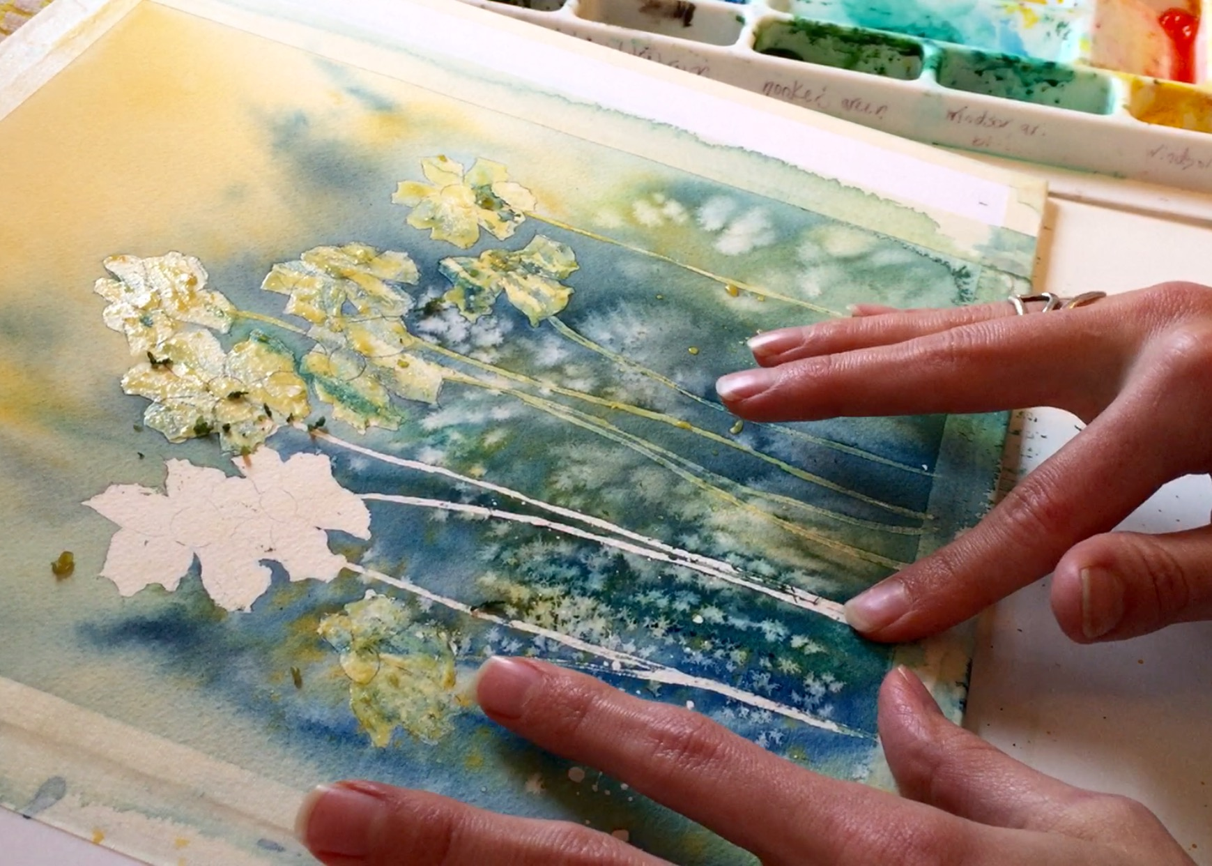 Remove Masking Fluid from Watercolor Painting