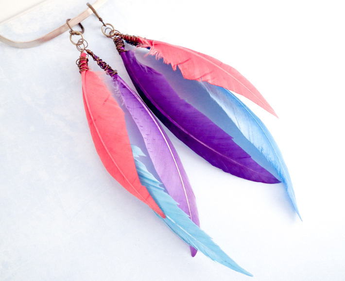 DIY Feather Earrings with Pink, Purple and Blue Feathers