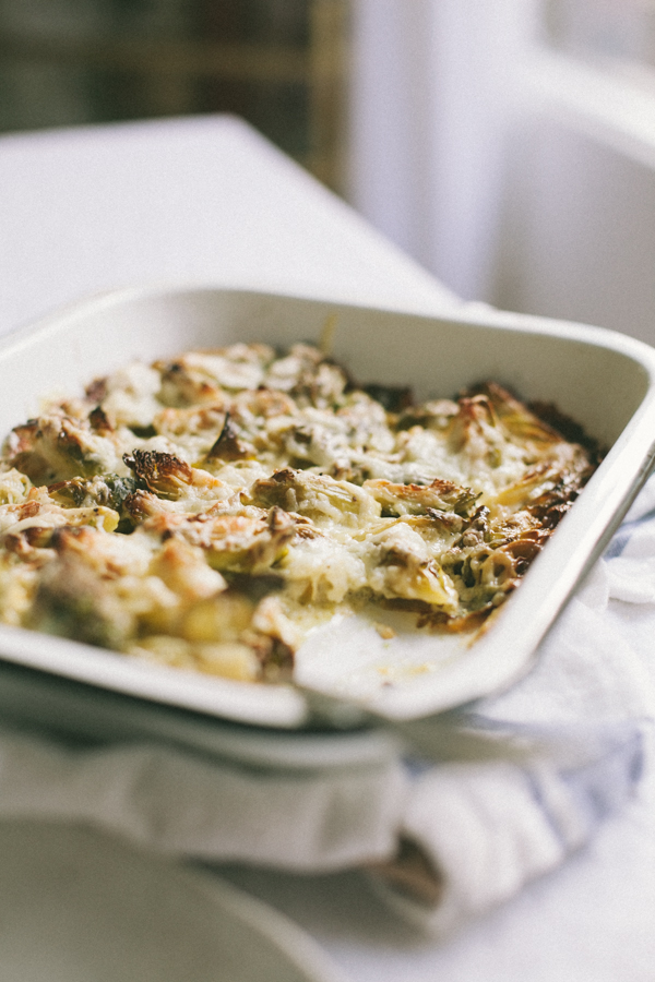 Roasted brussels sprouts gratin recipe