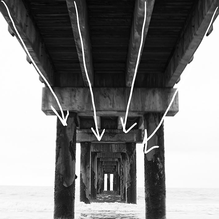 pier leading lines beach