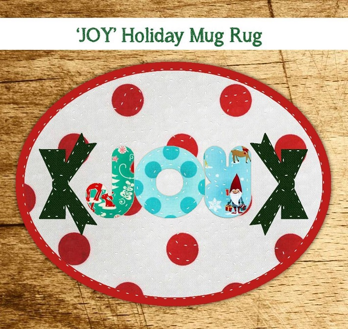 Joy Free Holiday Mug Rug Pattern
